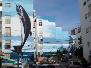 Catching a fish mural in Estepona